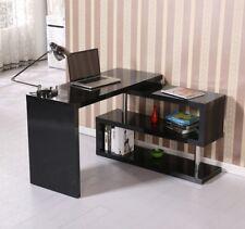 Black High Gloss Desk L Shaped Computer Workstation Large Corner Office Modern