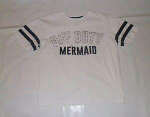 Matalan White Off Duty Mermaid Pyjama Top/ T-Shirt Age 12 Years
