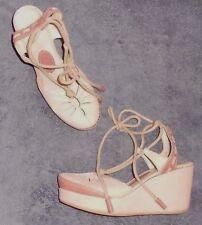 IKKS sandales compensées cuir nude rosé P 38 = 37 ½ TBE