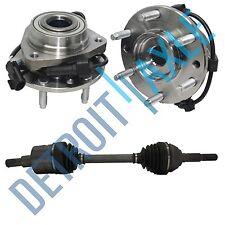 1 FRONT CV Axle + 2 Front Wheel Hub & Bearing Envoy Bravada 4WD AWD