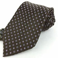 ARMANI Italy Long 61 Classic Mocha Brown Lavender Hexagon Geometric Silk NeckTie