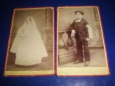 2 Cdv old photograph communion boy girl by Jacquet Paris France c1890s R508(11)