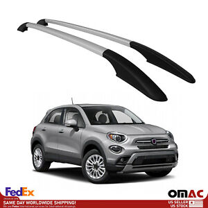 Top Roof Rack Side Rails Bars Alu Silver For Fiat 500X 2016-2021