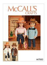 "M7883 SEWING PATTERN American Doll 18"" 45 cm Western Costume Hat & Belt M7883"