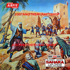 Airfix ho-oo 1684 Fort Sahara árabes Legión Gran Cartel Letrero Anuncio Caja Ilustraciones
