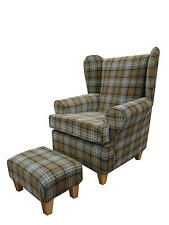 ARM CHAIRS/ WING BACK CHAIR/ FIRESIDE CHAIR + FOOTSTOOL IN A BEIGE TARTAN FABRIC