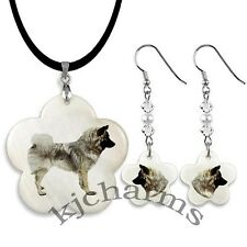 Eurasier Dog Mother Of Pearl Flower-Shaped Necklace & Earrings Jewelry Set M23