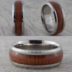 8mm Stainless Steel Mens & Womens Wedding Band Wood Effect Inlay Ring Size M - Y