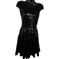 Delia's Black Sequin Short Cap Sleeve Dress Junior's Size XS