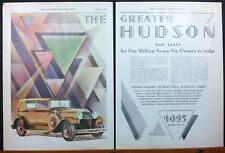 1929 Gold Greater Hudson Super-Six 4-Door Sedan Art Deco 2-Pg Print Ad