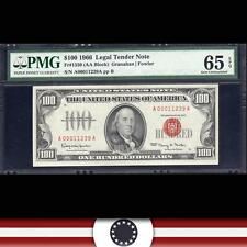 GEM 1966 $100 Legal Tender Note RED SEAL  PMG 65 EPQ  Fr 1550    A00011239A