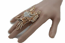 Women Gold Metal Ring Fashion Jewelry Elastic Band Long Chinese Dragon Head Fly