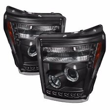 FITS 11-16 ONLY FORD SUPER DUTY SPYDER BLACK PROJECTOR HEADLIGHTS W/ LED HALO