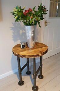 Round Coffee Table - Rustic Black steel legs Vintage Reclaimed Circular Wooden