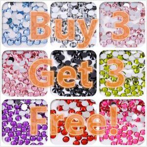 1000 Rhinestones Gems Crystal Pearl Nail Body Art Face Festival Costume Craft UK