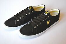 NEW LYLE & SCOTT Pumps Deck Shoes Flats Black Canvas, White Rim Sz. UK 7 - EU 41