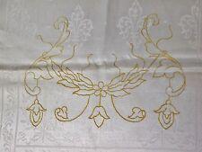 Antique White Linen Damask Runner Gold Floral Embroidery Fleur de Lis