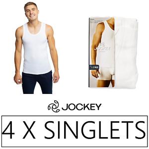 4 x JOCKEY MENS RIB SINGLETS - White Singlet Chestie Athletic