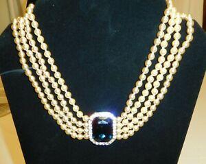 Vintage KJL Art Deco Sapphire Rhinestone Pearl Chocker Necklace Princess Diana