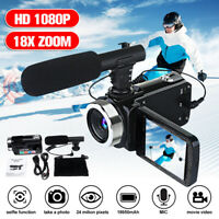 Portable Full HD 1080P 24MP 18X Zoom 3'' LCD Digital Camcorder Video Camera Mic