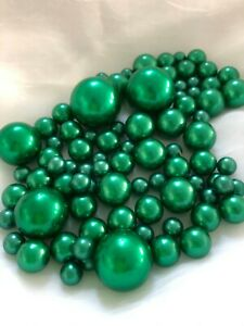 Emerald Green Pearls Vase Filler, DIY Floating Pearls Centerpiece 80pc no hole