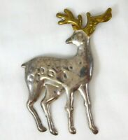 Vintage Mexico Sterling Silver Deer Pin Golden Antler Stag Brooch 925 Taxco