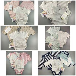 3 x baby boys girls unisex vertbaudet organic cotton vests bodysuits 0 - 3 years