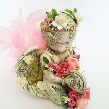 Cherub Angel Figurine Shabby Chic Cottage Roses VTG Statue Victorian Handcrafted