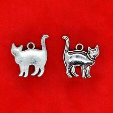 8 x Tibetan Silver Standing Walking Elegant Cat Charms Pendants Beading