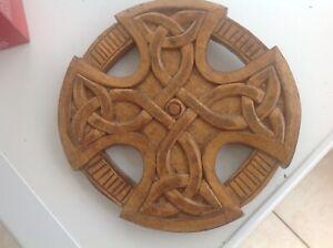 Arts & Crafts Carved Celtic Cross  Wood Carving