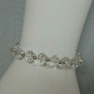 "VERY PRETTY 7 3/4"" - 8 1/4"" FACETED CRYSTAL AND .925 STERLING SILVER BRACELET"
