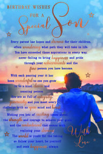 """To A Special Son Birthday Card. Large Card 9"""" x 6"""" Lovely Verse."""