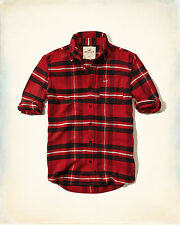New Hollister Abercrombie Mens Guys Red black Plaid Flannel Button Up Shirt M