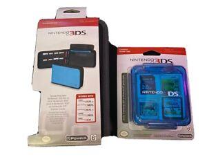 Power A Nintendo 3DS Universal Folio Case Black & Compact Game Case Blue Bundle