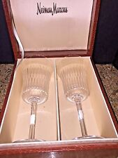 Neiman Marcus new Gift Box Set of 2 Crystal Champagne/Wine Glasses 🎁