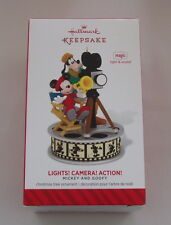 Hallmark 2014 Disney Mickey Goofy Lights Camera Action Movie Magic Ornament