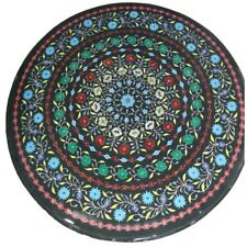 "36"" black Marble inlay Table Top semi precious stones home / garden decorative"