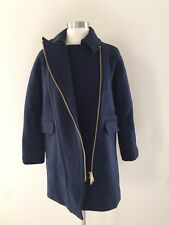JCrew $365 Petite Zippered Coat Stadium-Cloth Sz 0P Navy G0217