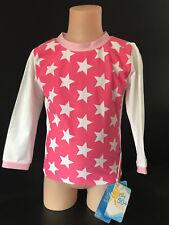 BNWT Girls Size 2 White Soda Brand Pink/White Star Long Sleeve Rash Vest UPF 50+