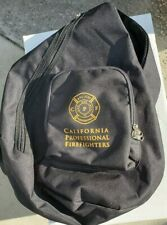 California Professional Fire Fighters One Shoulder Black Canvas Back Pack AFL-CI