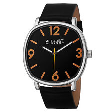 New Men's August Steiner AS8139SSB Classic Easy-to-Read Black Leather Watch