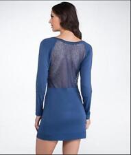La Perla Elodie M Sleepshirt Navy Blue Sheer Lace Back