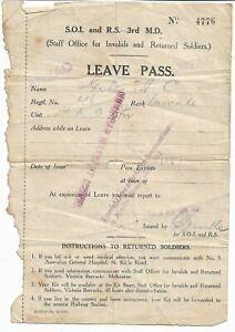 WWI LEAVE PASS 1st MACHINE GUN BTN  AIF ANZAC