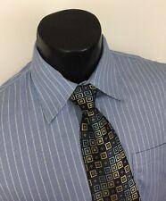 Nordstrom Mens Dress Shirt Houndstooth Blue Striped Wrinkle Free 16 35 E57