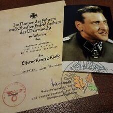 Iron Cross document for German WW2 commando Otto Skorzeny + autographed photo
