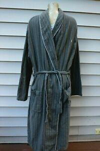 Polo Ralph Lauren Bath Robe Men's S/M 100% Cotton Gray White Striped