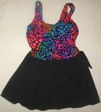 EUC Sea Fair Black Multicolor Print 1 Piece Swimsuit Skirt, Size 13/14