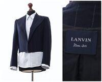 Women's LANVIN Blazer Coat Jacket Wool Striped Navy Blue Size EU 38 US 8 UK 12