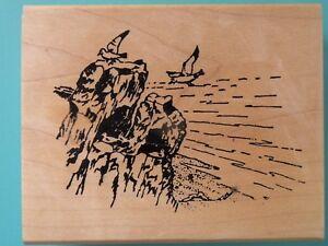 Sea Shore Rocky Cliff w/Sea Gulls Landscape Scene Rubber Stamp