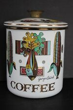 Georges Briard Enamelware Porcelainite Coffee Canister Green Garden Pattern Mcm